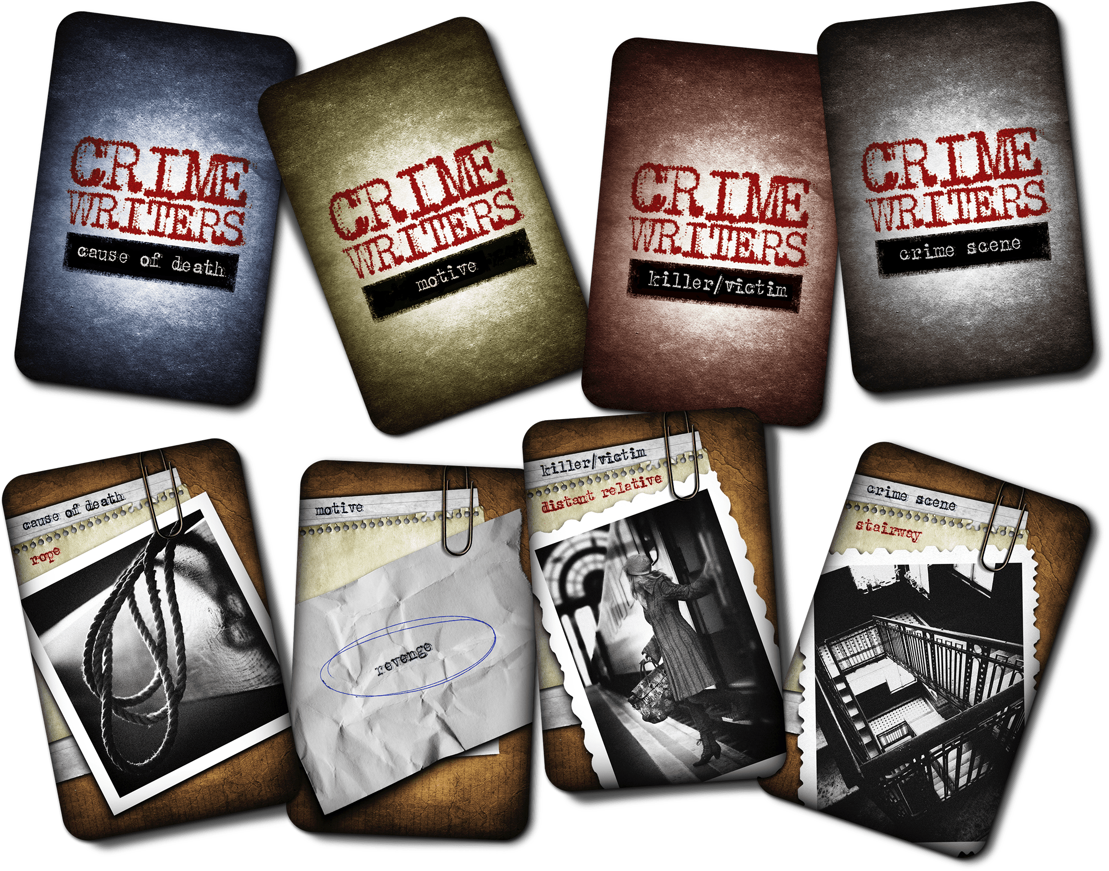 card types | 20 cause of death cards | 16 motive cards | 20 crime scene cards | 30 killer or victim cards